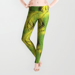 Tropical pattern. Palm leaves with grunge texture Leggings