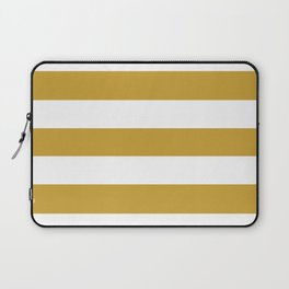 Satin sheen gold - solid color - white stripes pattern Laptop Sleeve
