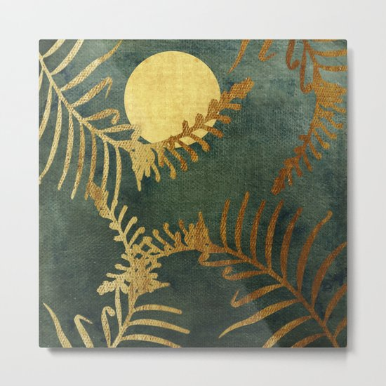 Golden Cycas leaves on dark green canvas Metal Print
