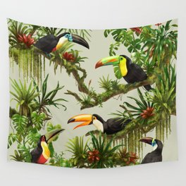 Toucans and Bromeliads (Canvas Background) Wall Tapestry