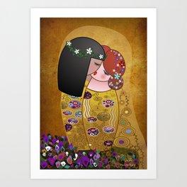 Kokeshis Lesbians The kiss of Klimt Art Print