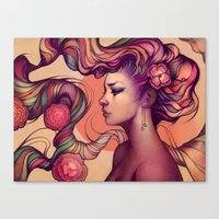 roses Canvas Prints featuring Leah by Megan Lara