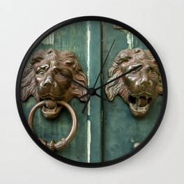 #Lion #heads of precious #metal Wall Clock