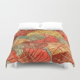 Leaves in Rosy Background 4 Duvet Cover