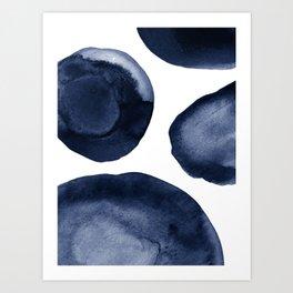 Indigo Watercolor Circles Art Print