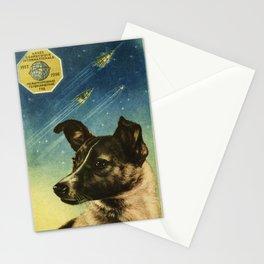 Laika — Soviet vintage space poster Stationery Cards