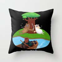 marijuana Throw Pillows featuring Wolf lamb marijuana by gunberk