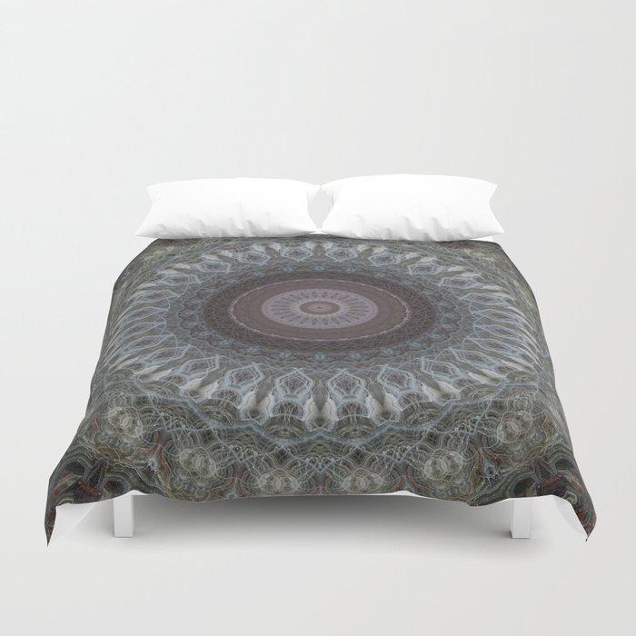 Mandala in grey and brown tones Duvet Cover