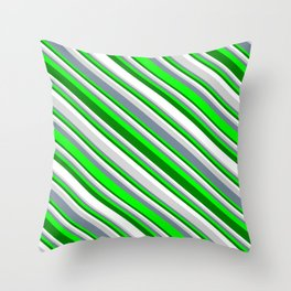 Eyecatching Light Gray, Light Slate Gray, Lime, Green, and White Colored Striped Pattern Throw Pillow
