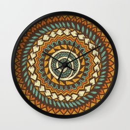 Retro Abstract 60s 70s Polynesian Tattoo Design - Vintage Blue Wall Clock