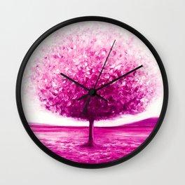 Pink tree landscape Wall Clock