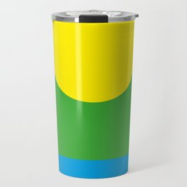 Yellow Sun in a Green Sky looking at a blue sea Travel Mug
