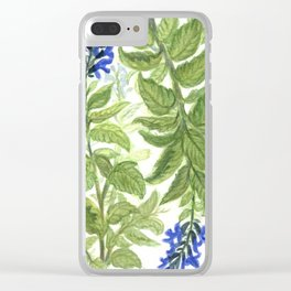 Blue Wildflower Watercolor Clear iPhone Case