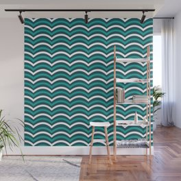 Blue And White Horizontal Lined Waves Wall Mural