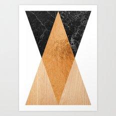 Copper Marble Triangles Art Print