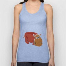 Funny Orange Hippo Artwork Unisex Tank Top