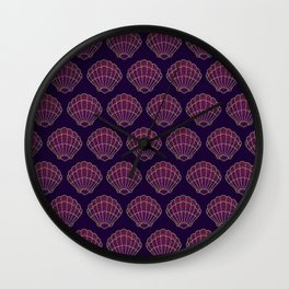 Violet & Gold Scallop Shell Pattern Wall Clock