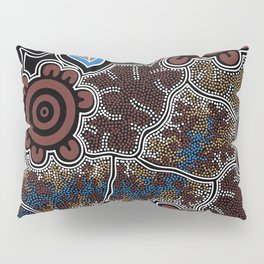 Water Lilly Dreaming - Authentic Aboriginal Art Pillow Sham