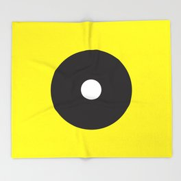 White dot on black on yellow Throw Blanket