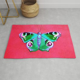 Blue and Green Butterfly on Pink Background Rug