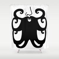 mustache Shower Curtains featuring Mustache by Nicole Rheingans