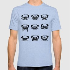 Moustaches of The Pug MEDIUM Tri-Blue Mens Fitted Tee