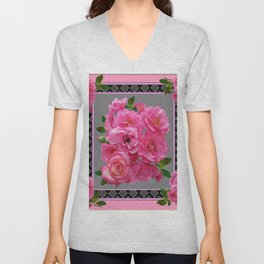 PINK ON PINK ROSE PATTERN GREY ART Unisex V-Neck