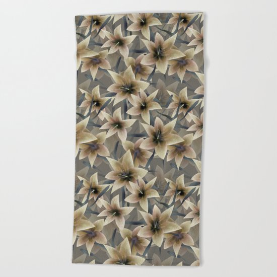 Lily. Grey beige floral pattern . Beach Towel