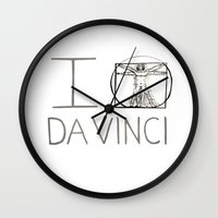 da vinci Wall Clocks featuring Da Vinci by Normandie Illustration