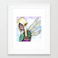 elf Framed Art Prints featuring Elf by Flying Cat Artwork