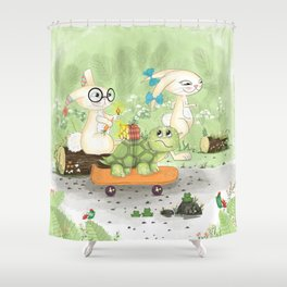Fast as the rabbit Shower Curtain
