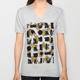 Artistic abstract black gold watercolor brushstrokes Unisex V-Neck