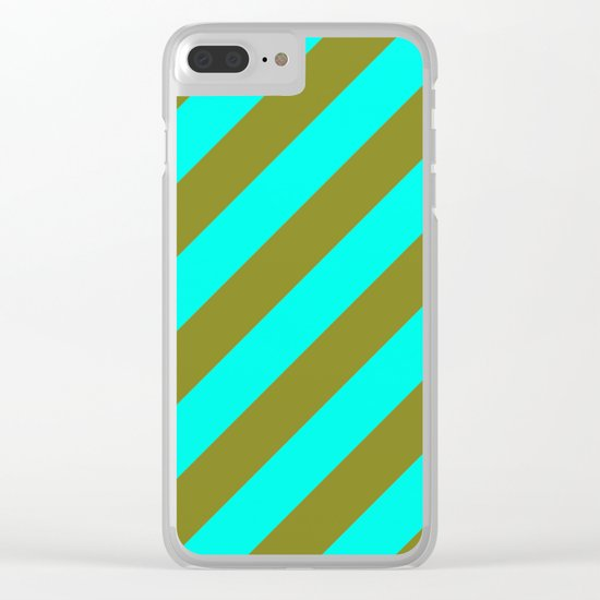 Cyan Blue And Army Khaki Green Stripes Clear iPhone Case