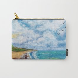 Sea landscape with lighthouse, seagulls and stones painted in watercolor Carry-All Pouch