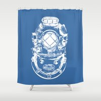 scuba Shower Curtains featuring Scuba diver by Sea And Navy