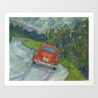 volkswagon Art Prints featuring Rainy Day Bug by Barb Laskey Studio