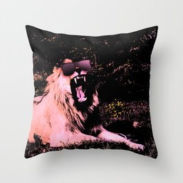Cool Lion Chillin Throw Pillow