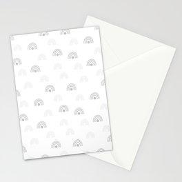 Light Grey Minimal Rainbow Monochrome Hand-Drawn Seamless Pattern Stationery Cards