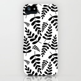 Black leave pattern on white iPhone Case