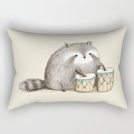 Raccoon on Bongos Rectangular Pillow