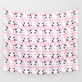 Super Cute Kawaii Bunny and Panda (Pink) Wall Tapestry