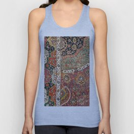 Persian Medallion Rug II // 16th Century Distressed Red Green Blue Flowery Colorful Ornate Pattern Unisex Tank Top