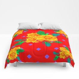 Red & Violet Gold Roses Violet Pattern Comforters