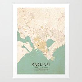 Cagliari, Italy - Vintage Map Art Print