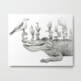 CAIRN-IVORE | Black and White Metal Print