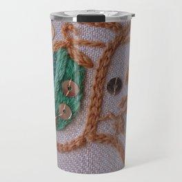 Elizabethan Embroidery Pea Pods Travel Mug