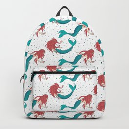 Red Haired Mermaids Pattern Backpack
