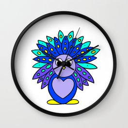 Drawn by hand a Friendly and funny little peacock for children and adults Wall Clock