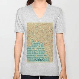 Oslo Map Retro Unisex V-Neck