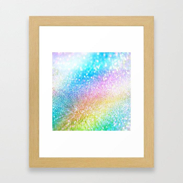 rainbow glitter Framed Art Print